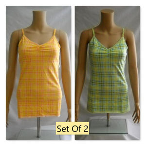 SO 2 Plaid Stretch Tank Cami Tops L or XL